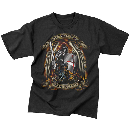Mens Black Ink Put On The Whole Armor Of God T-Shirt