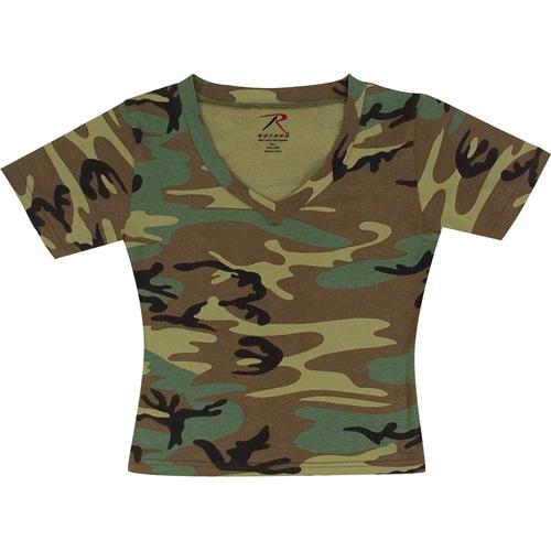 Womens Short Sleeve Camo V-Neck T-Shirt