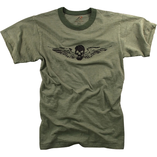 Mens Vintage Skull And Wing Slub T-Shirt