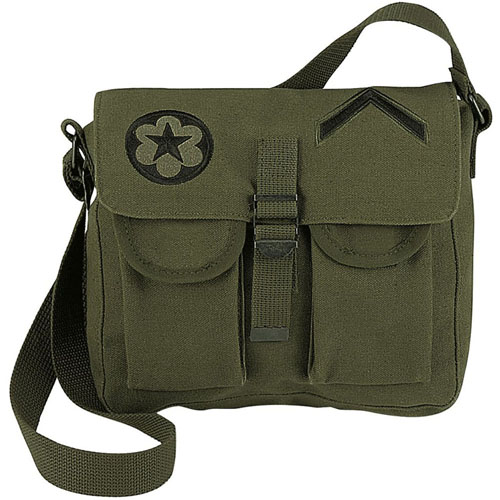 Canvas Ammo Shoulder Bag with Military Patches