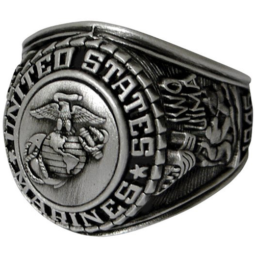 Deluxe Marines Silver Insignia Ring