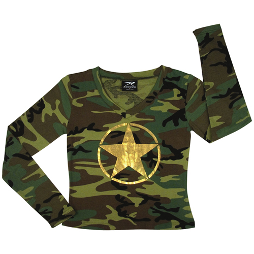 Womens Long Sleeve V-Neck Foil Star On Front T-Shirt
