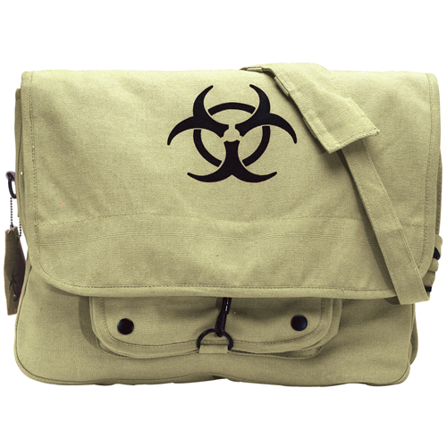 Vintage Canvas Paratrooper Bag with Bio-Hazard Symbol