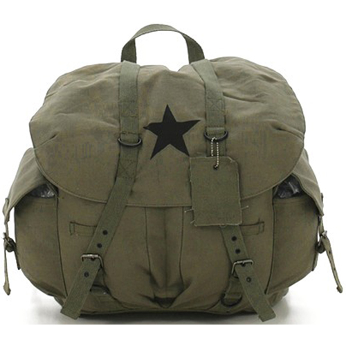 Vintage Weekender Canvas Backpack with Star
