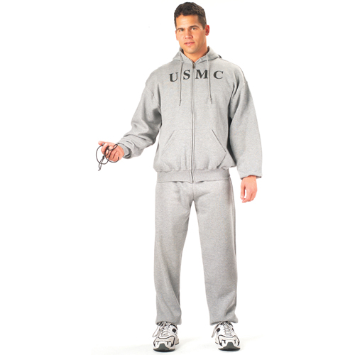 Mens Grey USMC Zipper Hooded Sweatshirt