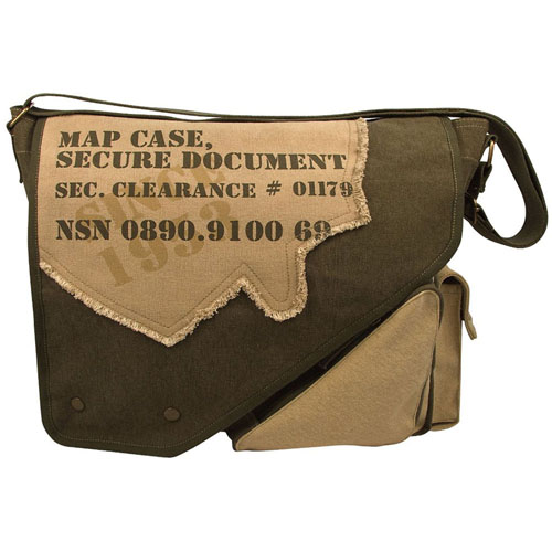 Vintage Canvas Two-Tone Imprinted Map Bag