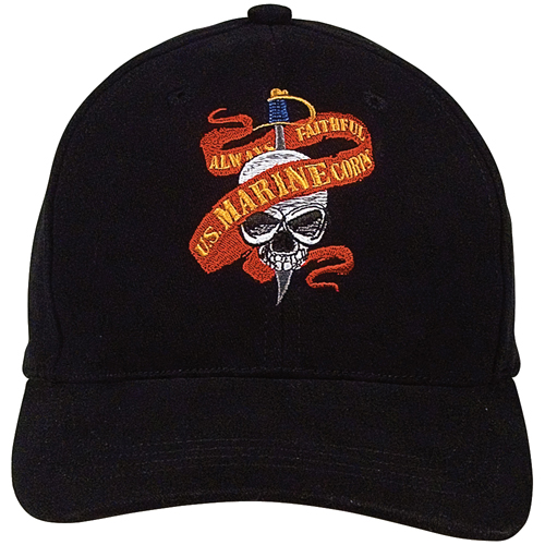 Black Ink Marine Skull-Ribbon Supreme Low Profile Cap