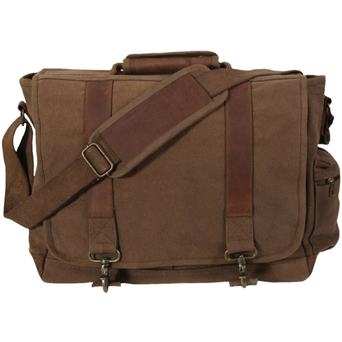 Vintage Canvas Pathfinder with Leather Accents Laptop Bag