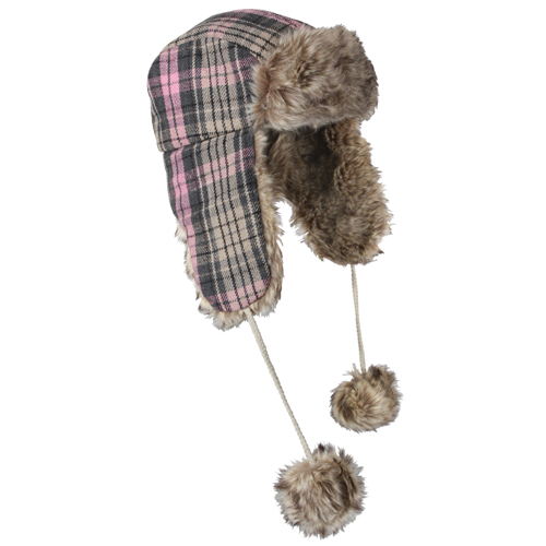 Pink Plaid Fur Flyers Hat
