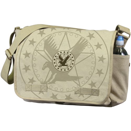 Vintage Canvas Messenger Bag with Exploded Army Eagle Print