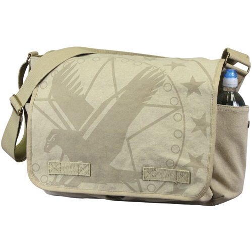 Vintage Canvas Messenger Bag - Khaki with Subdued Army Eagle Print