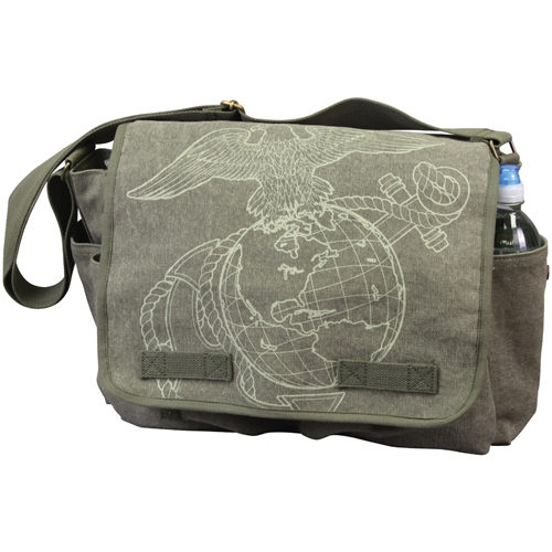 Vintage Canvas Messenger Bag - Olive Drab with Subdued USMC Globe and Anchor Print