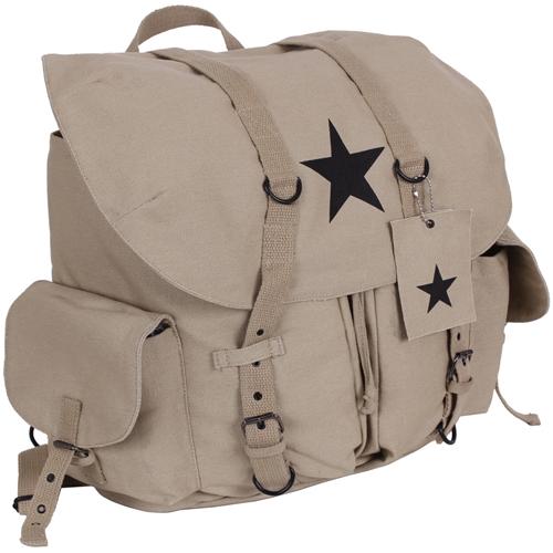 Vintage Weekender Canvas Backpack with Star