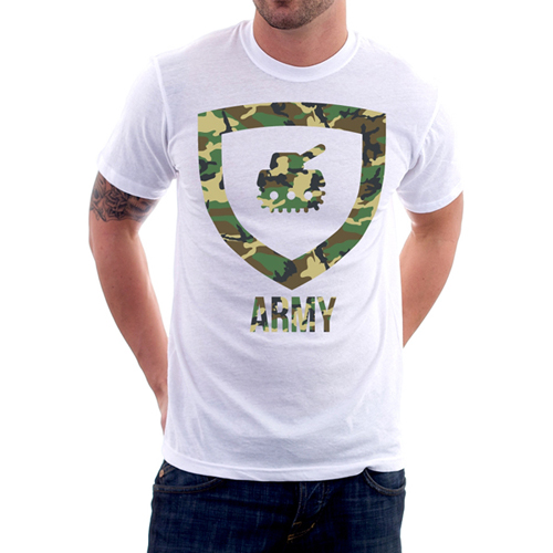Army White Custom Printed T-Shirt