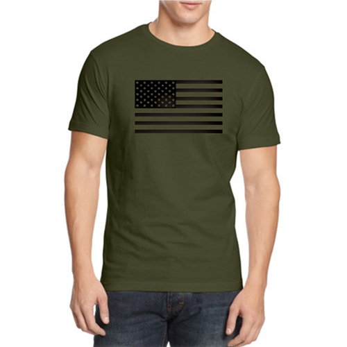 USA FlagCustom Printed Olive T-shirt