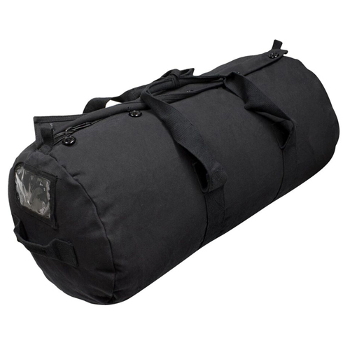 Paratroop Button Flap Duffle Bag - Black