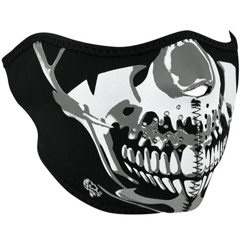 Zan Headgear Neoprene Chrome Skull Half Face Mask