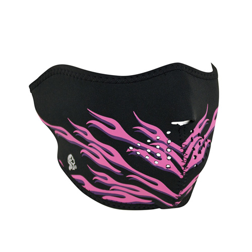 Neoprene Pink Flames 1/2 Face Mask