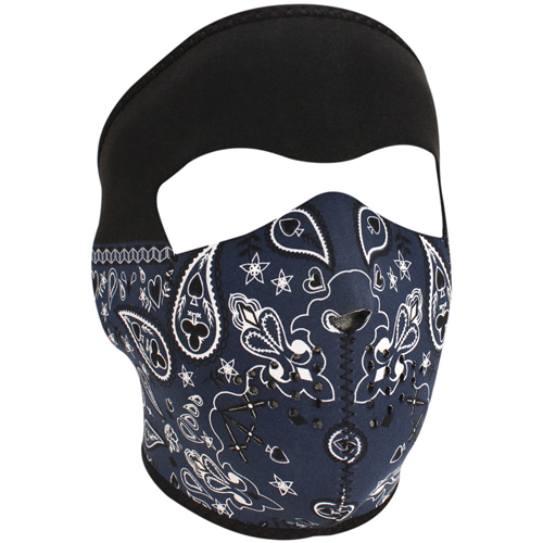 Neoprene Blue Paisley Bandanna Face Mask