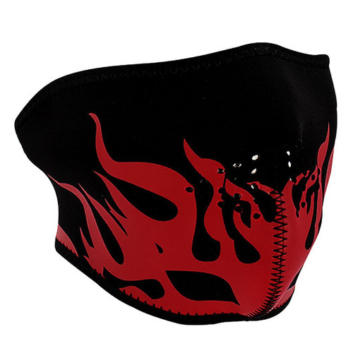 Neoprene Red Flames Half Face Mask
