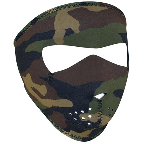 Neoprene Woodland Camouflage Small Face Mask