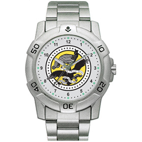 Chrome Military Watch US Army Vintage Crest Stainless Ban
