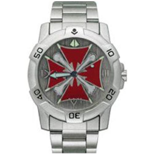 Chrome Biker Watch Iron Cross w- Bones