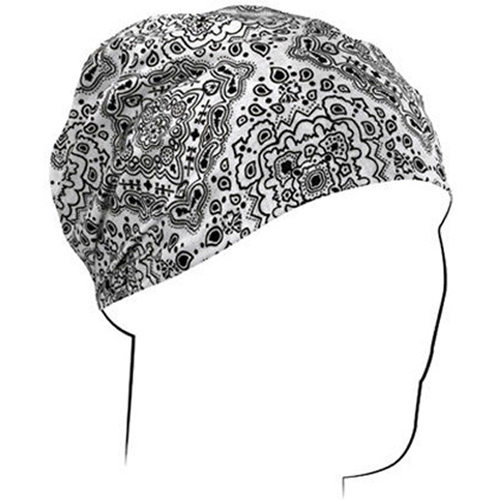 Headwrap Cotton White Paisley