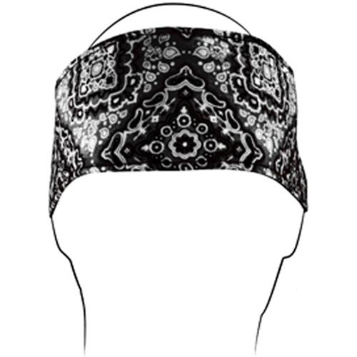 Headband w- Fleece Cotton Black Paisley