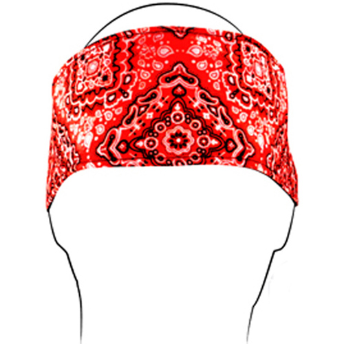 Headband w- Fleece Cotton Red Paisley