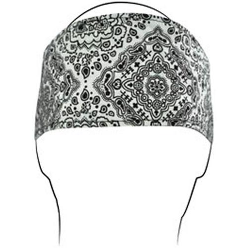 Headband Cotton White Paisley