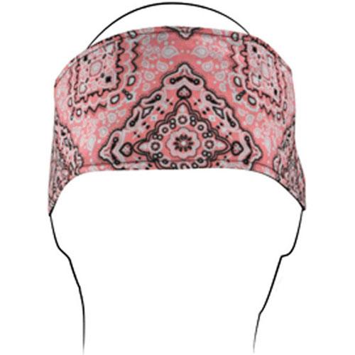 Headband w- Fleece Cotton Pink Paisley