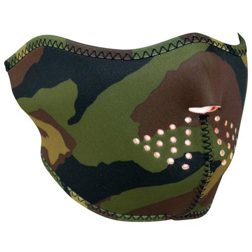 Half Mask Neoprene Woodland Camo Reverses to High-Vis Orng