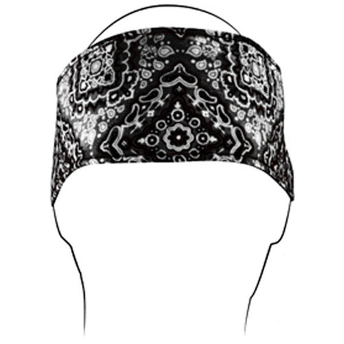 Headband Cotton Black Paisley