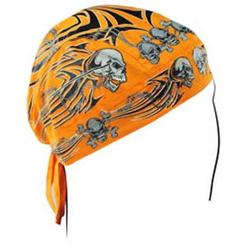 Flydanna and reg Cotton Orange Tribal Skull