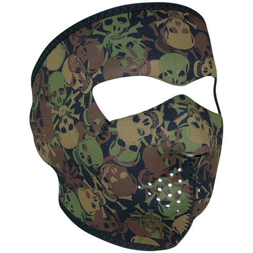 Skull Green Camo Face Mask