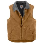 Sandstone Mock-Neck Sherpa Lined Vest