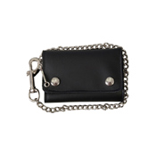 Black Extra Wide Leather Wallet With Lobster Claw Clip
