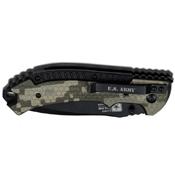 U.S. Army 5 Inch Spring Assisted Black Half Serrated Blade Folding Knife