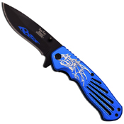 Dark Side Black Blades w/ Falming Design 4.5 Closed Folding Knife