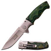 Elk Ridge Green Wood Handle 4.5 Inch Spring Assisted Knife