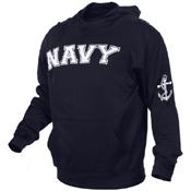 Mens Navy Military Embroidered Pullover Hoodies