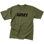 Mens Army Olive Drab Military Physical Training T-Shirt