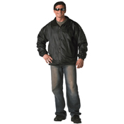Mens Black Reversible Fleece-Lined Nylon Jacket