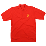 Mens Red Marines Golf Gold Embroidery T-Shirt