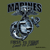 Mens Black Ink Marines First To Fight T-Shirt