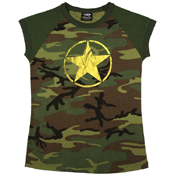 Womens Woodland Camo Foil Star T-Shirt