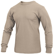 Mens Long Sleeve Solid Poly-Cotton T-Shirt