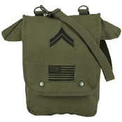 Canvas Map Case Shoulder Bag with Military Patches