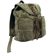 Stone Washed Canvas Backpack with Leather Accents